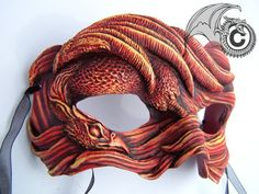 Buy Red Phoenix Mask at Wish - Shopping Made Fun Bird Masks, Cool Masks, Mask Design, Phoenix, Sculpting, Art Pieces, Pretty, Steamer Trunk, Handmade
