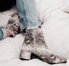 Snakeskin print ankle boots, ankle boots, printed boots