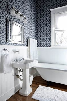 wallpaper above beadboard in bathroom