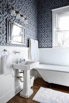 wallpaper above beadboard in bathroom