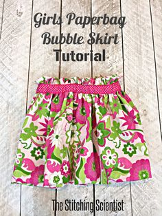 Girls Paperbag Bubble Skirt || The Stitching Scientist #skirt #tutorial #bubbleskirt