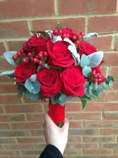 Red Freedom and Naomi Rose bouquet with Senecio and Eucalyptus and Berries Red Freedom and Naomi Ros Romantic Wedding Flowers, Red Rose Wedding, Prom Flowers, Bridal Flowers, Flower Bouquet Wedding, Christmas Wedding Themes, Eucalyptus Bouquet, Red Rose Bouquet, Bride Bouquets