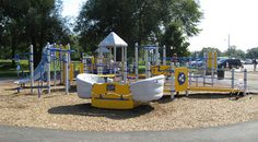 Alexandra Park, Strathroy  This Landscape Structures inclusive playground features many ground level activities as well as ramps that lead to other play events for kids of all abilities to enjoy together.  The highlight of the play structure features the Sway Fun Glider that delivers a gentle swaying motion for all passengers.