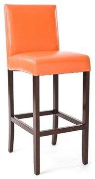 Zentique Leather Bar Stool-Orange traditional bar stools and counter stools  sc 1 st  Pinterest & 4 Vintage Retro Eams Era Mid Century Modern Orange Bar Stools ... islam-shia.org
