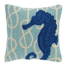 Nautical Knot Seahorse Wool Throw Pillow
