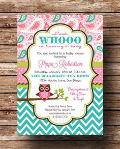 Owl Baby Shower Invitation - Baby Girl - Pink Aqua Teal Paisley Chevron - Printable Invite - Pippa on Etsy, $12.50