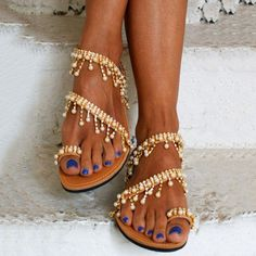 be1c44c37 Women Leather Sandals Casual Pearls Shoes Pearl Sandals