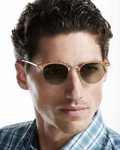 Executive II Half-Rim Sunglasses, Amber Tortoise