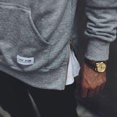 http://yrt.bigcartel.com Side zipped kangaroo grey mellee sweat. #hypebeast #menswear #streetwear