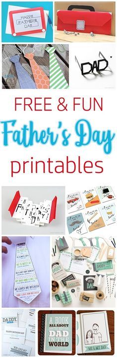 Free and Fun Father's Day Printables - Cards and Paper Crafts - EASY DIY Projects and Activities Perfect for kids to make to attach to gifts for Dads and Grandpas