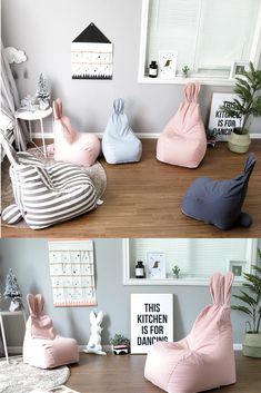 Bunny Cartoon Children Bean Bag is part of Baby room decor - Sewing Projects For Kids, Sewing For Kids, Diy For Kids, Cheap Furniture, Kids Furniture, Pink Bean Bag, Kids Bean Bags, Childrens Bean Bags, Bean Bag Sofa