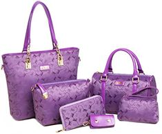Women Tote Bag Messenger Bag Purse WristletKeychain 6 Piece Set Bags purple ** Read more reviews of the product by visiting the link on the image.