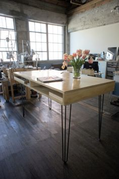 standing height plywood table with steel hairpin legs