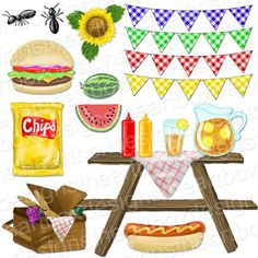 Picnic Clipart, Summer Picnic Food Clipart, Gingham Bunting Banners, Hamburger + Hot Dog + Watermelon Clipart + Gingham Background Clipart by TheArtBoxDesigns on Etsy https://www.etsy.com/uk/listing/194989603/picnic-clipart-summer-picnic-food