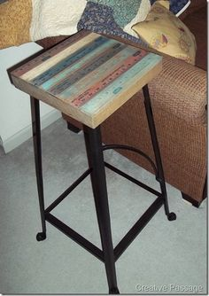 Old stool or side table makeover with yard sticks