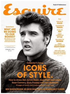 """February 2015 issue of Esquire with a photo of Elvis Presley on the cover taken on the set of """"Jailhouse Rock"""" (MGM), 1957 