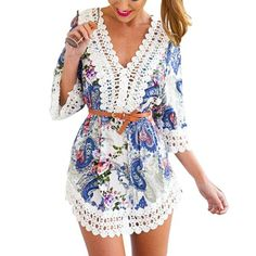 Summer 2015 Embroidery Women Crochet Dresses Floral Retro Handmade Dress 3/4 Sleeve Hollow Out Beach Dress Playsuit  Price: US $10.09  Sale Price: US $8.37  #dressional