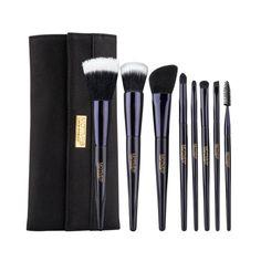 Motives® 8-Piece Deluxe Brush Set - Includes Powder Brush, Flat-Top Foundation Brush, Contour Brush, Eye Shadow Brush, Crease Brush, Angled Liner Brush, Lip Brush and Spoolie