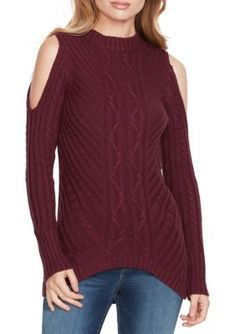Jessica Simpson Women's Posy Cold Shoulder Sweater - Fig - Xs