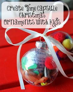 Festive Activities for Kids: Create Time Capsule Christmas Ornaments {Free Printable} - Bare Feet on the Dashboard - - Create sweet and simple DIY time capsule Christmas ornaments with your kids to preserve memories for years to come {free printable}. Kids Christmas Ornaments, Toddler Christmas, Holiday Fun, Christmas Holidays, Christmas Gifts, Christmas Decorations, Festive, Holiday Ideas, Merry Christmas