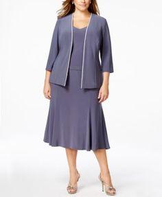 Alex Evenings Plus Size Rhinestone Dress and Jacket
