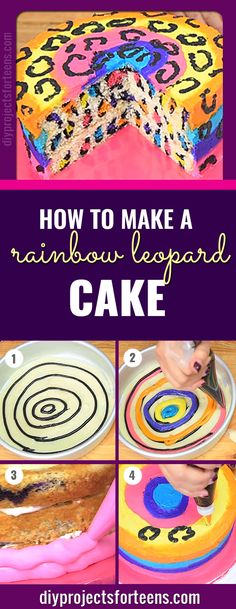 How to Make A Rainbow Leopard Cake - Recipe and Step by Step Video Tutorial