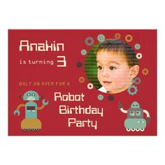 Retro Robots Birthday Party Photo Invitation