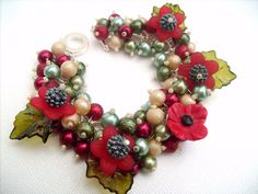 Pearl Beaded Bracelet Poppy Bracelet Cluster Bracelet by KIMMSMITH, $19.00