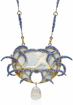 AN ART NOUVEAU GALALITH, ENAMEL AND PEARL PENDENT NECKLACE, BY RENÉ LALIQUE. The galalith cameo pendant figuring the profile of a nymph, set within a spray of lavender flowers, suspending a baroque pearl, to the similarly-set chain, circa 1905, pendant 9.5 cm, chain 66.0 cm, with French assay marks for gold. Signed Lalique. #RenéLalique #ArtNouveau #Jewelry #Jewellery #BijouxArtNouveau