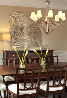 Classic dining room with hints of metallic. Lauren Nicole Designs | Dining Room Interior Design Charlotte NC Weddington