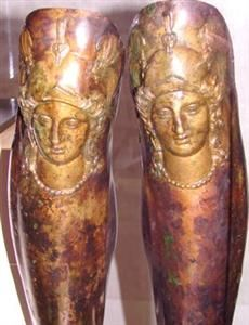 ca. 330-300 BCE. Burial Tomb. Shipka, Bulgaria. Decorated Bronze Greaves of Thracian ruler Seuthes III of the Odrysian Kingdom. He continually revolted against Macedonian rule.