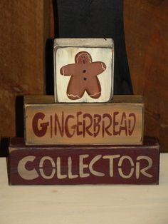 Gingerbread Collector Primitive Stacking by WoodRufflesLacePrims Gingerbread Man Crafts, Gingerbread Decorations, Christmas Gingerbread House, Primitive Christmas, Christmas Signs, Rustic Christmas, Christmas Crafts, Christmas Decorations, Gingerbread Houses