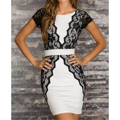 Wholesale Sexy Women's Jewel Neck Lace Splicing Short Sleeve Backless Dress (WHITE,XL), Bodycon Dresses - Rosewholesale.com