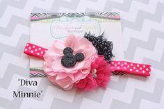 Minnie headband, baby headband, Minnie Mouse, black, pink, hot pink shabby Flower Headband first Birthday, cake smash photography prop on Etsy, $13.95