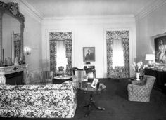 The master bedroom pictured here in 1952. It was used as a living room by the Truman family, the walls were painted lavender and grey. Photo: whitehousemuseum.org