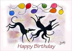 Greyhound birthday card by Dianne Heap