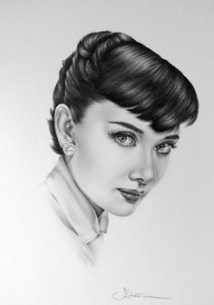 Audrey Hepburn; graphite drawing by Ileana Hunter