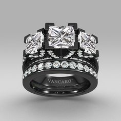 Black Three-stone Princess Cut Women's Wedding Ring Set with White Cubic Zirconia #gothic #gothicwedding #goth #gothicweddingrings Gothic wedding ring