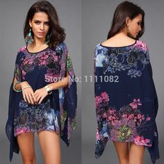 Boho Batwing Sleeve Chiffon Blouse Women Casual Floral Print Loose Kimono Shirts Big Size Beach Tunic Tops Peplum Blusas from Costbuys. Chiffon Floral, Chiffon Kimono, Print Chiffon, Chiffon Tops, Chiffon Shirt, Sexy Summer Dresses, Beach Dresses, Tunic Dresses, Dress Summer