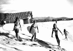 The Calhoun Clan – Robin, Marge and Candy at Makaha Source: Surfing Heritage Foundation