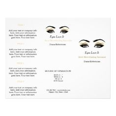 Black White Makeup Lashes Esthetician SPA Brochure - beauty gifts stylish beautiful cool