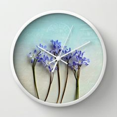 simple elegance Wall #Clock #homedecor #floral #flowers #blue
