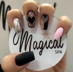 Clear Nail Designs, Black Nail Designs, Best Nail Art Designs, Clear Acrylic Nails, Clear Nails, Almond Nails Designs Summer, Manicure, Short Square Nails, Shoe Nails
