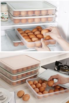 24 Grids Egg Storage Case Holder Box Fridge Eggs Plastic Organizer With Lid Cool Kitchen Gadgets, Kitchen Items, Cool Kitchens, Kitchen Decor, Kitchen Organization Pantry, Home Organisation, Kitchen Storage, Refrigerator Covers, Refrigerator Storage