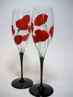 Champagne Flutes Hand Painted  Red Poppies  set by GlassWorksEtc, $40.00