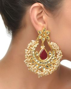 Crescent Moon Shaped Kundan Earrings #Jewelry #Fashion #New #Stones #Studded #Ethnic #Indian #Traditional