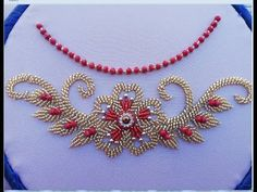 Hand embroidery /hand embroidery design with beads - YouTube