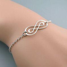 Sterling Silver Infinity Bracelet, Double Infinity - friendship bracelet - best friends jewelry - skinny bracelet - sisters- mom jewelry