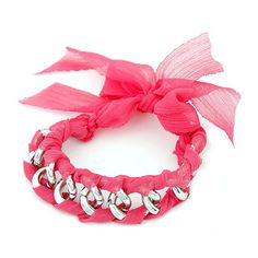 Pink Glam Bow Chain Bracelet