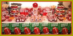 Baby Shower Football Theme - Final outcome of Chanel's Baby Shower dessert table